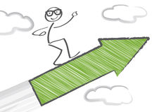 Upwards. Stick Figure flying with arrow Stock Images