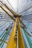 Upwards view of a yellow ship mast Royalty Free Stock Photos