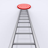 Upwards is the way to success. 3d ladder with target on the top of it Royalty Free Stock Photography