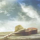 Uquelele e chapéu na madeira fotografia de stock