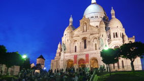 ur för ½ för ¿ för cï för sacrï¿ ½, sakral hjärta för basilika, paris, domkyrka, Frankrike, timelapse, 4k lager videofilmer