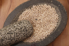 Urad Dal - A lentil commonly used in Indian recipes. Urad Dal - Urad, also referred to as urad dal, udad dal, urd bean, urd, urid, black matpe bean, black gram Royalty Free Stock Photos