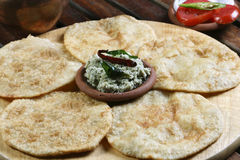 Urad dal puri with Coconut chutney from India Royalty Free Stock Images