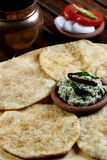 Urad dal puri with Coconut chutney from India Stock Image