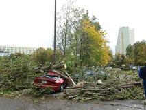 Uragano in città Fotografia Stock Libera da Diritti