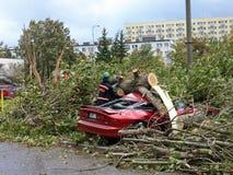 Uragano in città Fotografie Stock