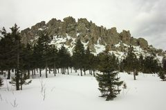 ural的山 国家公园Taganay 土坎Otkliknoi 1155 m 免版税库存图片