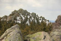 ural的山 国家公园Taganay 对土坎Otkliknoi的看法从童话谷的1155 m  库存图片