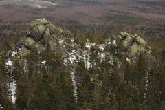 ural的山 国家公园Taganay 车里雅宾斯克区,俄罗斯 免版税库存照片