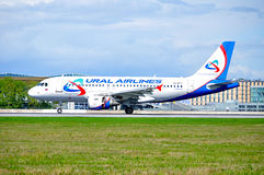 Ural Airlines Airbus A319 aircraft is landing in Pulkovo International airport in Saint-Petersburg, Russia Stock Photos
