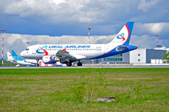 Ural Airlines Airbus A319 aircraft is landing in Pulkovo International airport in Saint-Petersburg, Russia Stock Photo