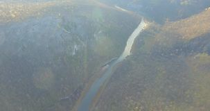 Ural forest, rock, mountain and river. Aerial view stock video