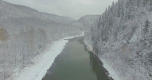 Ural forest, rock, mountain and river. Aerial view stock footage