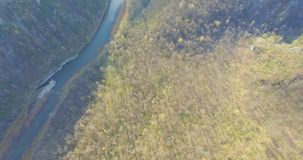 Ural forest, rock, mountain and river. Aerial view stock video footage