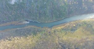 Ural forest, rock, mountain and river. Aerial view. Aerial view near of Kinderlinskaya cave and village Tash-Asty on Zilim river stock video footage