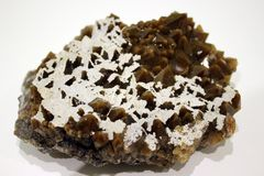 Ural mineral, quartz druze with inclusions, crystals stock images