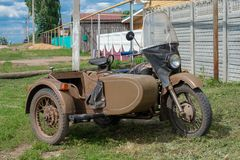 Ural motorbike with sidecar. Ural is a Russian brand of heavy sidecar motorcycles originally made in the soviet union. Russia, Tatarstan, June 15, 2019. Ural royalty free stock photos