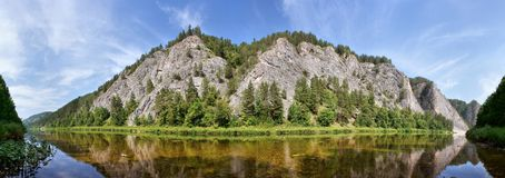 Ural mountains. River White, panorama Stock Photography