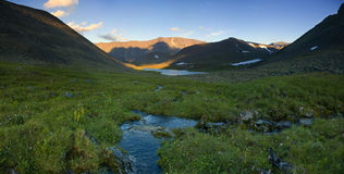 Ural mountains. Stitched Panorama, ural mountains, Russia Royalty Free Stock Photography