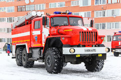 Ural 5557. NOVYY URENGOY, RUSSIA - APRIL 30, 2015: Red firetruck Ural 5557 in the city street Royalty Free Stock Photography