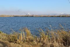 The Ural river in autumn in Magnitogorsk city, Russia stock photo