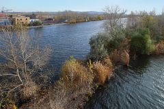 The Ural river in autumn in Magnitogorsk city, Russia royalty free stock photography