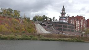 Ural River in autumn. The Ural River is the natural boundary between Europe and Asia stock video