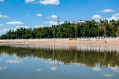 The Ural River is the natural boundary between Europe and Asia Royalty Free Stock Images