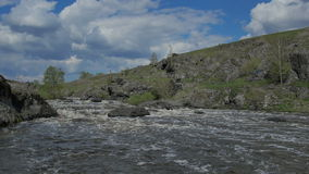 Ural river with rapid current stock video footage