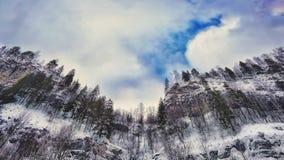 Ural in the rock. Ural rock sky blue trees stock photo