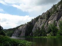 Ural. Russia south ural river blanching lays itself way between granite mountains Royalty Free Stock Image
