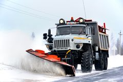 URAL snow removal vehicle Stock Images