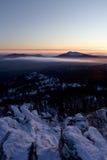 ural taganay taiga för bergparkrussia solnedgång Arkivbild