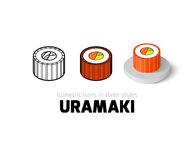 Uramaki icon in different style. Uramaki icon, vector symbol in flat, outline and isometric style Stock Photo