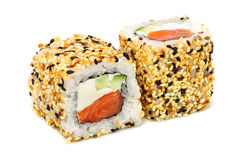 Uramaki maki sushi, two rolls isolated on white Royalty Free Stock Photography