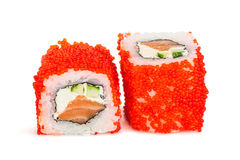 Uramaki maki sushi, two rolls isolated on white Royalty Free Stock Photography