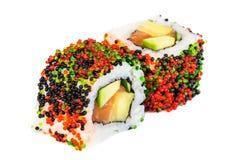 Uramaki maki sushi, two rolls  on white Royalty Free Stock Photos