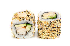 Uramaki maki sushi, two rolls  on white Stock Image
