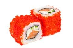 Uramaki maki sushi, two rolls  on white Royalty Free Stock Photography