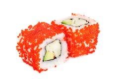 Uramaki maki sushi, two rolls  on white Stock Image