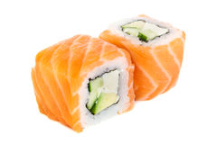 Uramaki maki sushi, two rolls  on white Royalty Free Stock Images