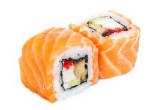 Uramaki maki sushi, two rolls  on white Royalty Free Stock Photo