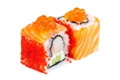Uramaki maki sushi, two rolls  on white Stock Photography
