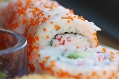 Delicious uramaki sushi rolls stock image