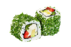 Uramaki vegetable maki sushi with dill, two rolls  on white Royalty Free Stock Photo