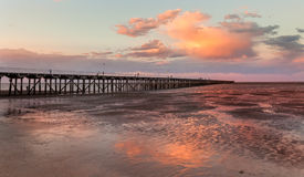 Urangan-Pier bei Sonnenuntergang Hervey Bay Queensland Stockfoto