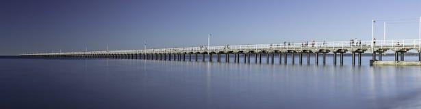 Urangan Pier, Hervey Bay, QLD. A big panorama of Urangan Pier which is an historic 868 metre long pier in Urangan, Hervey Bay, Queensland, Australia royalty free stock images