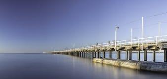 Urangan Pier, Hervey Bay, QLD. A big panorama of Urangan Pier which is an historic 868 metre long pier in Urangan, Hervey Bay, Queensland, Australia stock photo