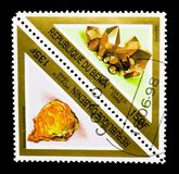 Uraninit和石英、矿物和岩石serie,大约1998年 库存照片