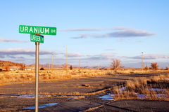 Uranium Drive. With road in disrepair. Jeffrey City, Wyoming - a Uranium-mining boomtown established around 1957. The city went bust when the mine shut down in Stock Photography